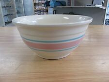 """Vintage McCoy Oven Ware Pink Blue Band 8"""" Mixing Dough Stoneware Pottery Bowl!"""