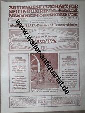 Werbeblatt ca.1914 AG für Seilindustrie vorm.Ferdinand Wolff Mannheim-Neckarau