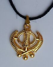 Beautiful UNISEX SMALL Gold Polished Punjabi Sikh Khanda Pendant in black thread