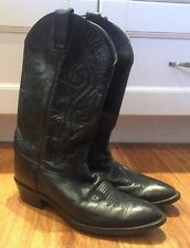 Men's Justin Cowboy Boots Black Leather     Sz 11D