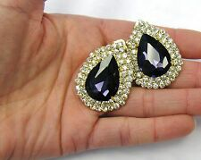 Gold Plated Purple Rhinestone Crystal Clip On Earrings # 413 Wedding Prom New