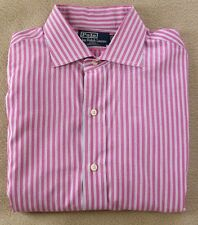 POLO RALPH LAUREN REGENT Custom Long Sleeve Pink Striped  Button Down Shirt