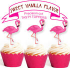 Alice Pink Flamingos Party EDIBLE wafer 15 Cupcake Toppers PRECUT cup cake