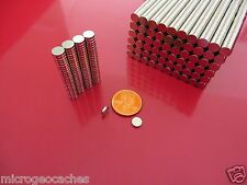 100 Strong Rare Earth Neodymium Disc Magnets 6 x 1.5mm  (1/4  x  1/16 inch)