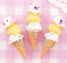5 x mignon triple scoop 3D ice cream cabochons kawaii decoden kitsch ru vendeur