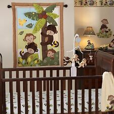 Baby Crib Bedding Set 3Pc Girl Boy Nursery Infant Monkey Quilt Sheet Dust Ruffle