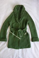 Vintage 70s Hand Knit Chunky Wool Coat Cardigan Green Belted Boucle Collar