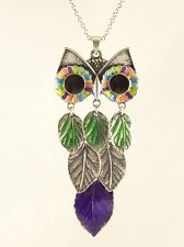 "Colorful New 30"" Owl Necklace with Leaf Body NWT #N2478"