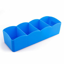 Plastic Underwear Bras Sock Ties Organizer Storage Box Desk Drawer Closet Blue