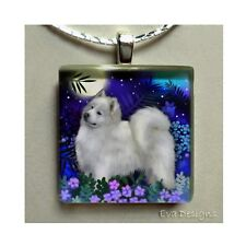 SAMOYED DOG MOON GARDEN 1 INCH ART GLASS TILE PENDANT NECKLACE WITH CHAIN