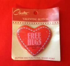 CARLTON CARDS FREE HUGS NO EXPIRATION DATE  METAL VALENTINE PIN HEART SHAPED NIP