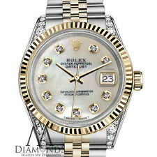 Woman's Rolex 26mm Datejust 2Tone White MOP Mother Of Pearl Diamond Dial Watch