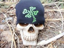 celtic shamrock embroiderd beanie hat thors hammer asatru norse heavy leafs