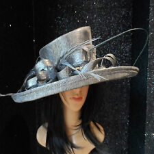 GRAPHITE GREY SPARKLE WEDDING HAT FORMAL OCCASION MOTHER OF THE BRIDE SINAMAY