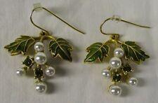 VTG SIGNED MMA Signed Museum of Modern Art Enamel Pearl Pierced Grapes Earrings