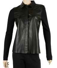 Gucci Black Cashmere & Leather & Silk Button Down Shirt, Size Medium