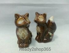 Fox Salt And Pepper Set Shaker Shakers Figural Ceramic Kitchen Fall Decor New