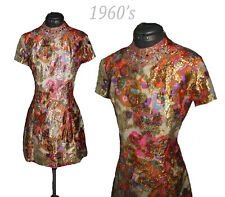 VTG 60's Metallic Twiggy Beaded Abstract Retro Cocktail Party Evening mini dress