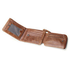 Handmade Mens Womens Vintage Bifold Wallet Card Case Purse Real Leather Clutch