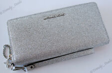 Michael Kors Alex Travel Large Continental Wallet Glitter Leather Silver NEW BOX