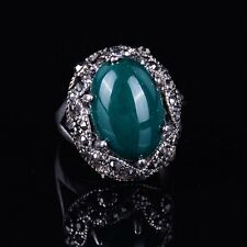 Silver Plated Oval 3 Color Rhinestone Women's Ring Vintage Style Jewelry