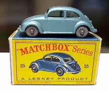 Vintage Matchbox Lesney #25 Silver Wheel VOLKSWAGEN Sedan BEETLE Bugin in BOX