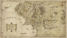 "Map of Middle Earth Lord Of The Rings Silk Cloth Poster 24 x 13"" Decor 42"