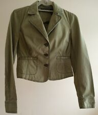 DKNY Jeans Jacket Blazer S Womens Army Green Cotton Crop Style Fitted
