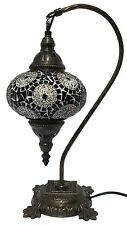 Handmade Swan Neck Turkish Moroccan Mosaic Glass Brown Table Bedside Lamp