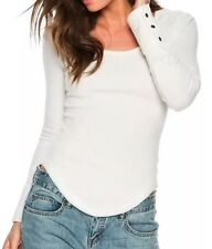 New Free People Newbie Thermal Henley Cuff Ivory Size XS $50