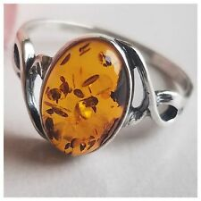 AUTHENTIC NATURAL BALTIC AMBER 925 STERLING SILVER DRAGONFLY RING 1.8gr SIZE 8