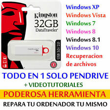 Pendrive 32 GB para INSTALAR WINDOWS y REPARAR ORDENADOR o PORTATIL + EXTRAS