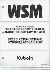 Kubota BX25D Tractor, Loader, Backhoe, Rotary Mower Workshop Manual
