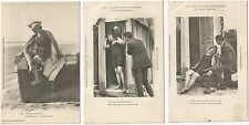 LOT 3 CPA postcard seaside Lovers Amoureux au bord de la Mer folklore HUMOUR A