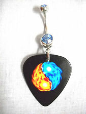 NEW BLUE & ORANGE FIRE YIN & YANG PRINTED GUITAR PICK BLUE CZ BELLY NAVEL RING