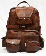 Real leather large backpack rucksack briefcase travel bag handmade big overnight