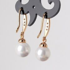 18K gold filled pearl& white sapphire HOT SALE WEDDING dangle earring