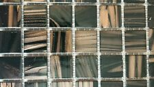 SHEETS OF 225 GLASS MOSAIC TILES -BLACK/BROWN WITH BRONZE SHIMMER