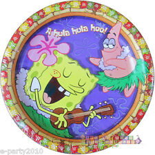 SPONGEBOB SQUAREPANTS Luau SMALL PAPER PLATES (8) ~ Birthday Party Supplies Cake