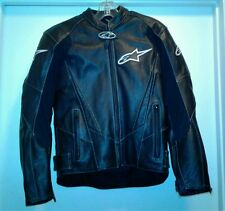 Men ALPINESTAR Leather Motorcycle Jacket W/ Pads Size 36/46 Black White