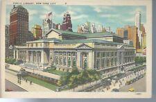 NEW YORK PUBLIC LIBRARY 5th Av & 42nd Manhattan NY City NY Postcard 1930-1940