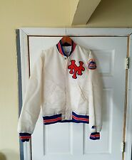 RARE Vintage 90's New York Mets White Satin Jacket By Starter Diamond Authentic.