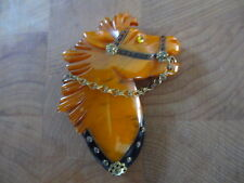 Rare Bakelite Butterscotch Horse Pin with Glass Eye, Metal Bridle and Ornaments