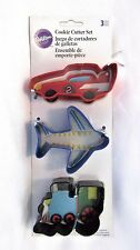 Wilton Cookie Cutter Set Car Plane Train Shapes 3 pcs Metal New