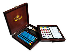 ARTIST WATERCOLOUR SKETCHING PENCIL PAINT SET WITH BRUSH & WOODEN CASE WPEN1600