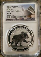 2016P AUSTRALIA S$1 KOALA SILVER DOLLAR EARLY RELEASES  NGC MS 70 AUS LABEL