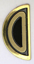"NOS MINT Antique Deco Initial ""O"" Either Way Yellow Gold GT Letter Black Enamel"