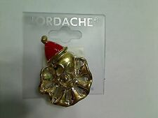 Jordache Goldtone Red Enamel Hat Clown Fashion Brooch