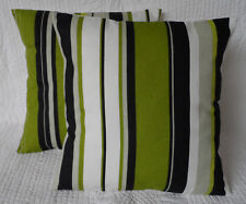 "Cushion Cover 18"" Lime Green Grey and Black Stripe Handmade New 46cm"