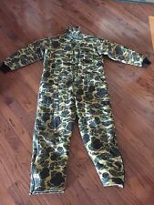 Vintage SafTbak L/XL Duck Camo Vtg Retro Hunting Insulated Coveralls Pants Suit